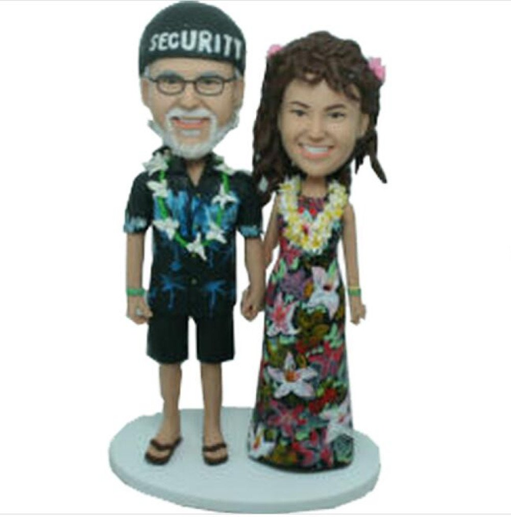 Custom Hawaii Style Wedding Bobbles Polymer Clay Bobbleheads Cake Toppers by MiniBobbleheads