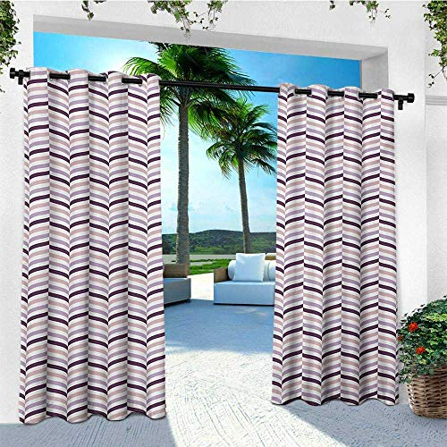 leinuoyi Eggplant, Outdoor Curtain Kit, Sea Whale Fish Tail Inspired Design with Leaf Like Details Art, for Patio W72 x L96 Inch Pale Pink Purple and - Whale Polished Tail