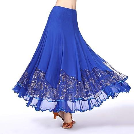 Tookang Falda de Danza Mujer Falda Larga Baile de Latino Tango ...