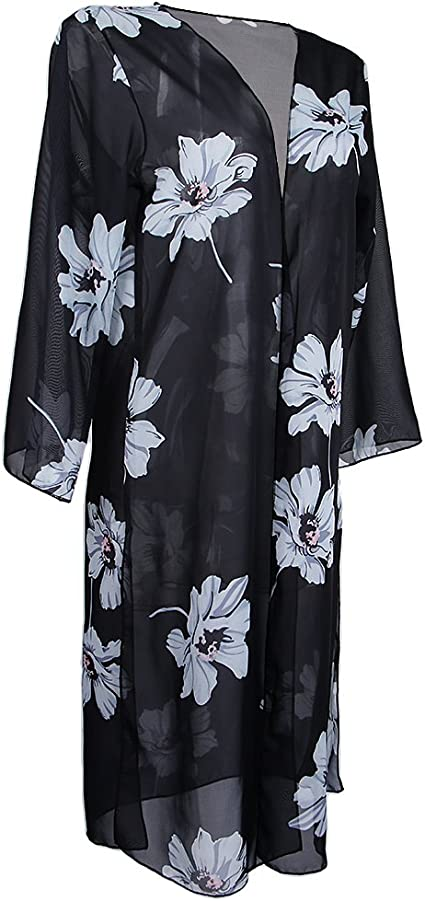 TALLA METRO. MagiDeal Cárdigan Chifón Verano Estampados Flores Blancos Bohemio Kimono Cobija Top Bikini Cover Up Vocación
