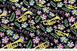 Trumpet Fabric - Jazz Instruments Jazz Cornet Brass Band Bugle Hawaiian Flowers - by Fleurette7 Printed on Fleece Fabric by The Yard