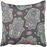 Throw Pillow Cover 18''X18'' Decorative Polyester Yoga Indian Hand Drawn Hamsa Symbol Mantra India Mandala Elegant Meditation Spa Tribal Pillowcase Print Two Sides Deco Home