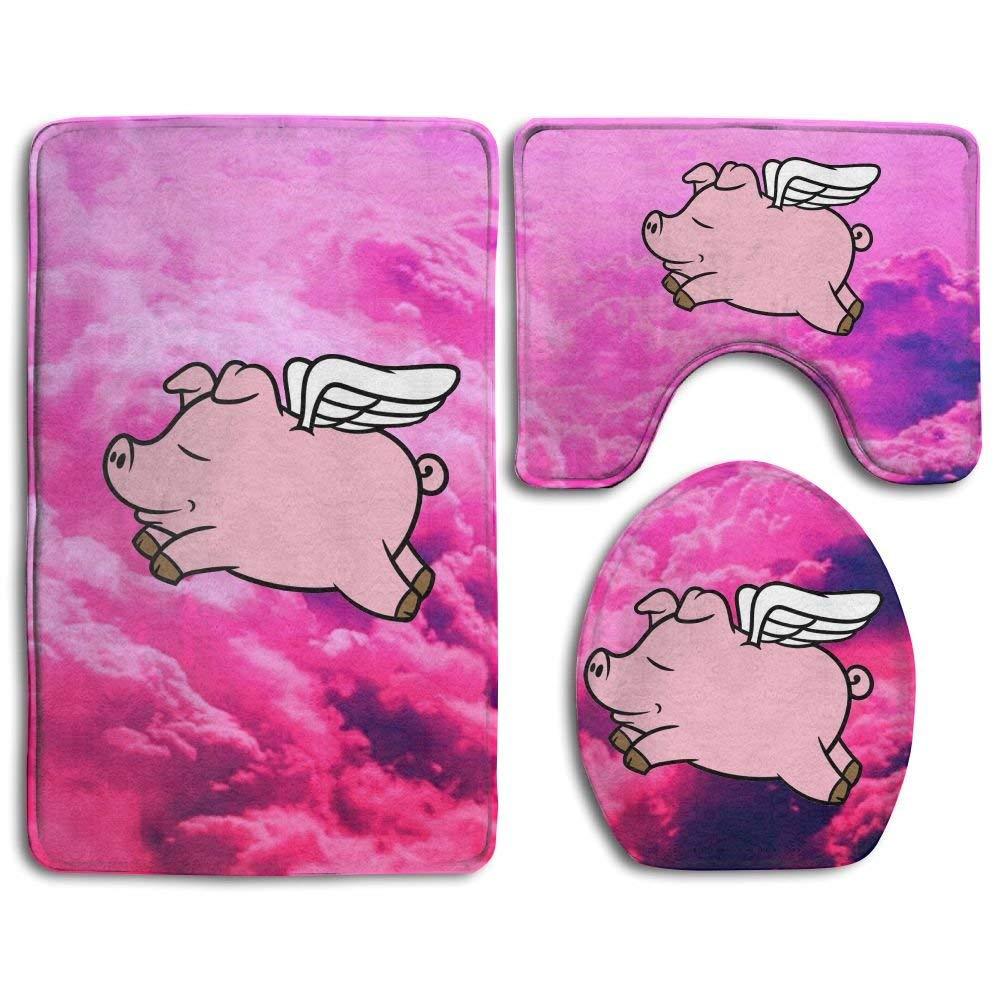 BeautyToiletLidCoverABC Bathroom Rug Mats Set 3 Piece Toilet Seat Cover Contour Mat Beautiful Smog Print Non-Slip Bath Rugs