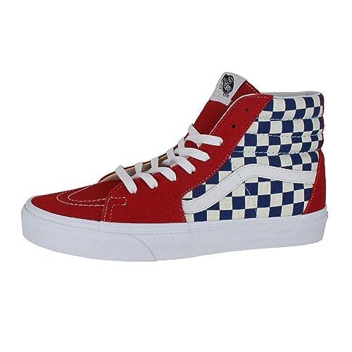 7d31b0fb8f Vans Mens U SK8 HI BMX Checkerboard True Blue RED Size 7.5  Amazon ...
