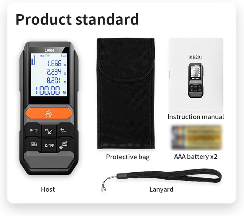 Sunnyflowk MK201 Buscador de Rango láser Detector de Metales Medidor de Distancia de Nivel automático Medidor de análisis electrónico Buscador de Rango (Negro)