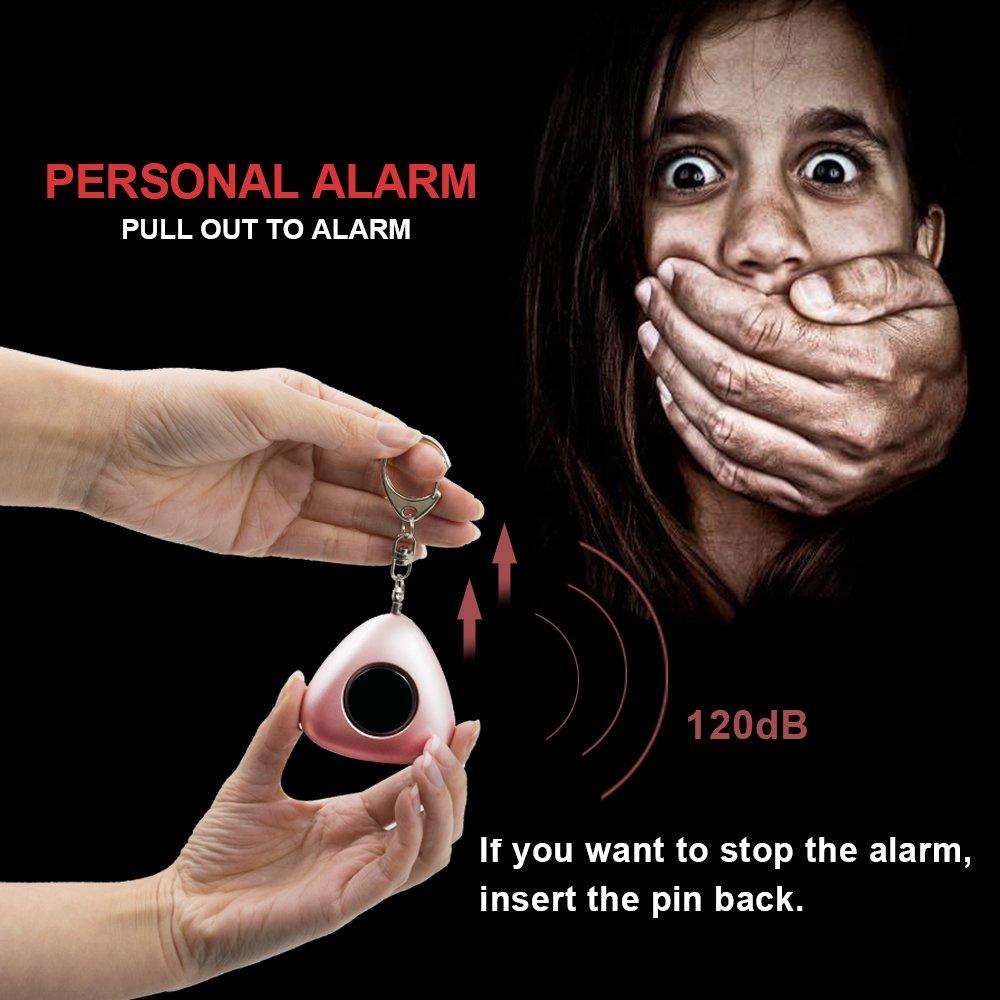 ERAY Alarme Personnelle 120dB Alarme Porte Cl/é Anti Agression avec Lumi/ère LED Alarme durgence SOS pour Femmes Enfants /Étudiants Travailleurs de Nuit Batterie Incluse 2 Pi/èce