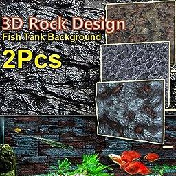 Caveen 24\'\'X18\'\' 2pcs Fish tank reptile 3D foam rock simulation background plate board aquarium \'\'Wall\'\' style Dragon Stone