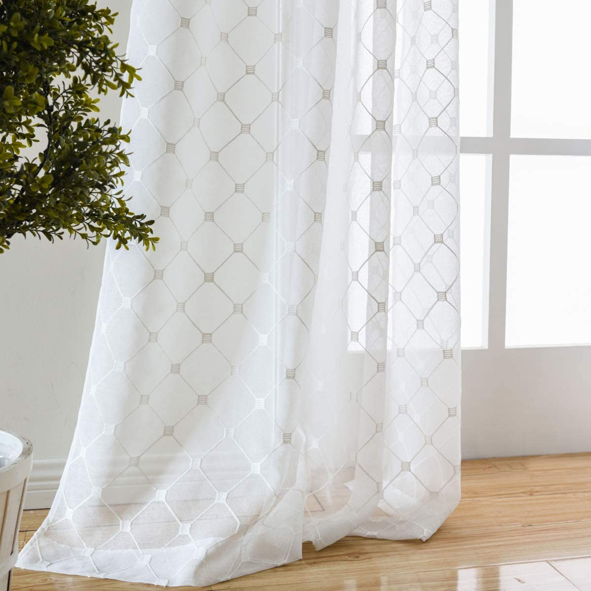 "Taisier Home Off White Sheer Curtains Embroidery Trellis Design Grommet Curtains 84 Inches Long for French Doors 2 Panels (2 x 52 Wide x 84"" Long) White/Silver Embroidery"