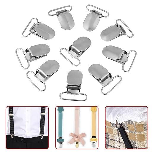 10 X Strumpfhalter Schnuller Silber Metal Hosenträger Clips Halter Plastik Zähne