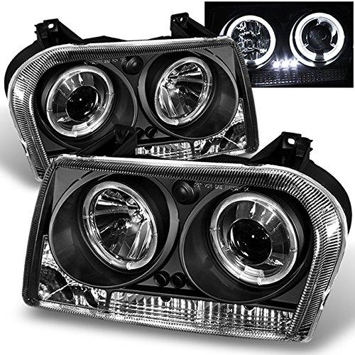 For Chrysler 300 Sedan Halogen Type Black Bezel Dual Halo Rings Design Projector Headlights Lamps Pair ()