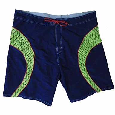 e253c47eca No Boundaries Mens Navy/Green Reptile Scales Swim Trunks Board Shorts 44