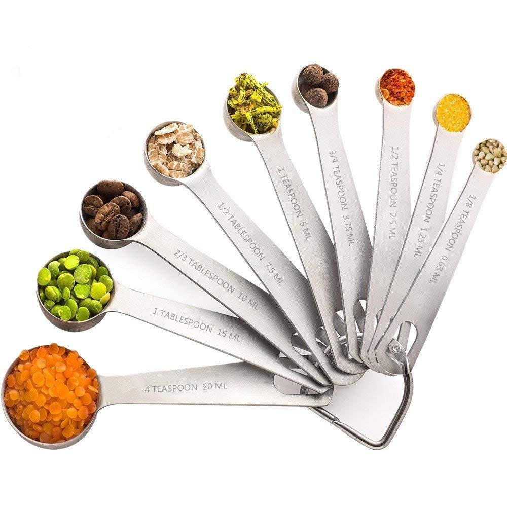 Measuring Spoons,AODINI 18/8 Magnetic Stainless Steel Measuring Spoons,Set of 9 Stainless Metal Measurement,Measuring tool Magnetic Metal Teaspoon Tablespoon Nesting Cups fit for Cooking Baking