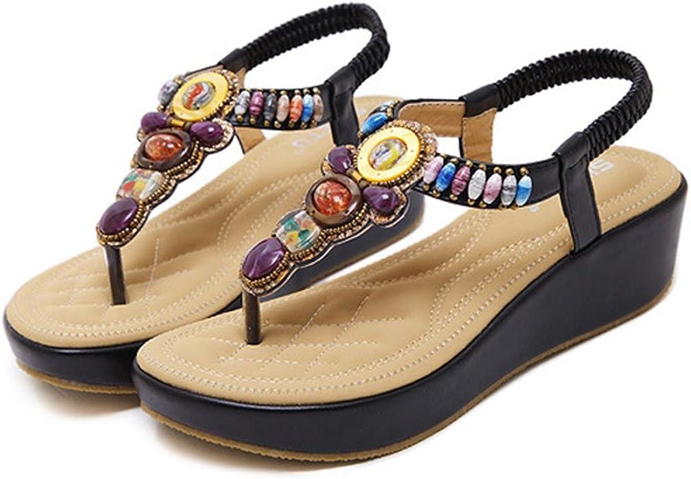 Plateau Sandalen Damen Sandaletten mit Keilabsatz Espadrille Sommer Leder Offene Bohemia Zehentrenner Sandalen R/ömersandalen Boho Schuhe Casual Strand