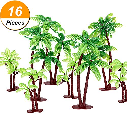 Coconut Pieces - Jovitec 16 Pieces Green Palm Tree Cupcake Topper with Coconuts Cake Topper for Cake Decorations, 5.5 Inch and 3.15 Inch