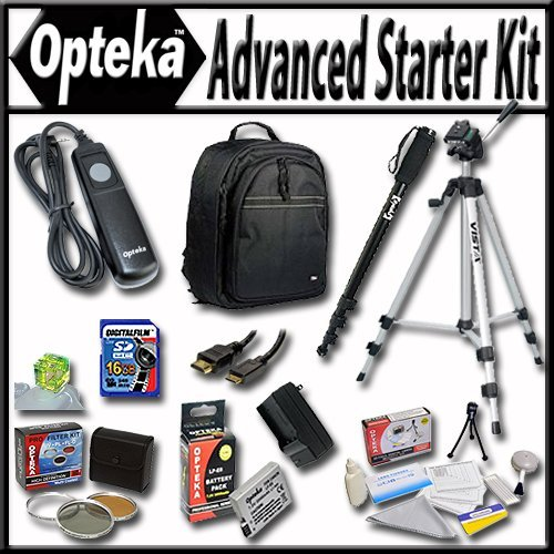 Advanced Starter Kit for the Canon EOS Rebel T2i T3i T4i T5i 550D 600D 650D 700D Kiss X4 X5 X6 X6i X7i DSLR Digital Camera Package includes: Professional Travel Backpack, 16Gb SD Memory card, Extra LP-E8 LPE8 Extended Life High Capacity Battery with Charg by Opteka