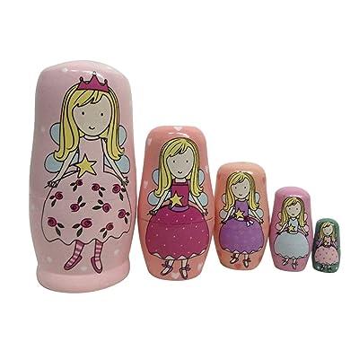 TOYMYTOY 5pcs Poupées russes enfant en bois avec Motif de fille de tailles différantes