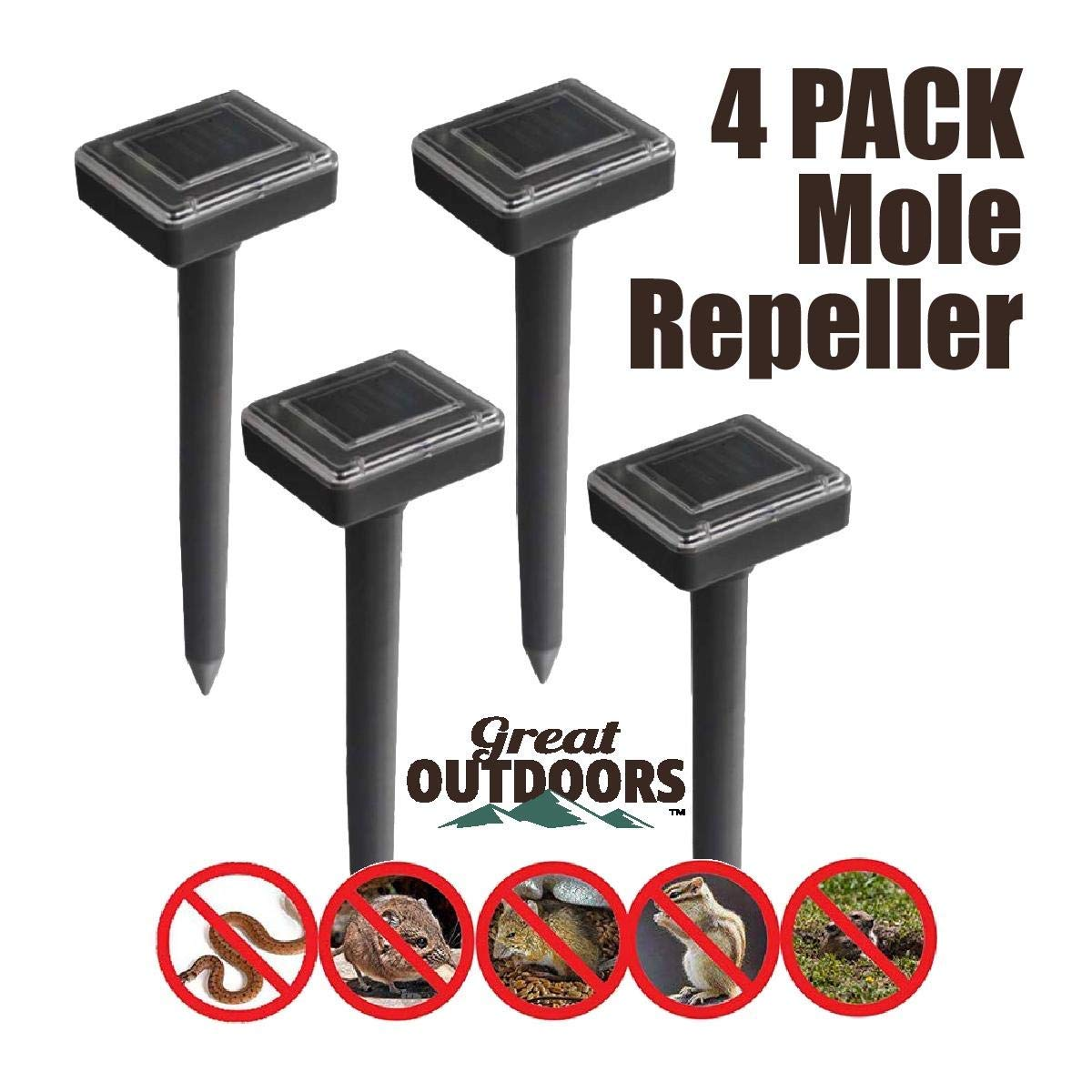 GREAT OUTDOORS TM Sonic Mole Repellent, Deterrent Rodent Ultrasonic Pest Control, Solar Gopher Repellent Vole Chaser Snake and Mole Deterrent Rodent Ultrasonic Pest Control, Underground Repeller by GREAT OUTDOORS TM