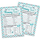 DISTINCTIVS Who Knows Mommy Best - Teal Blue Elephant Boy Baby Shower Game Cards (20 Count)