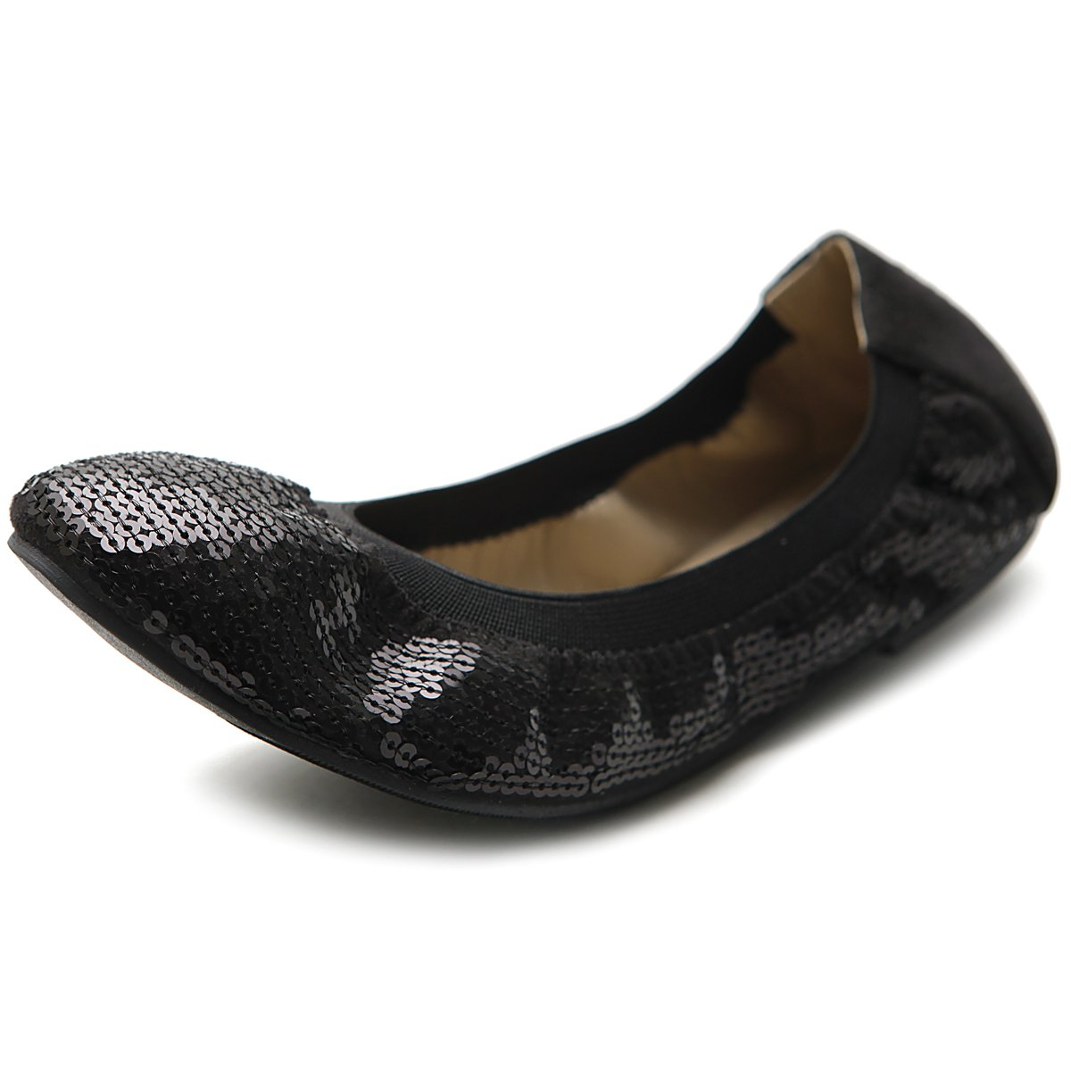 Ollio Women's Shoe Ballet Multi Color Spangle Comfort Flat ZM1057(9 B(M) US, Black)