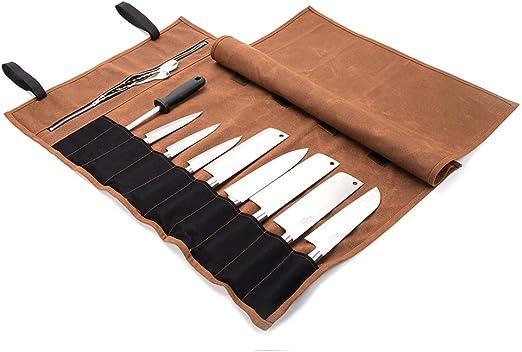 Fushida - Bolsa para Cuchillos de Chef, 15 Compartimentos, Resistente, de Lona Encerada, Resistente al Agua, Funda de Almacenamiento para Cuchillos, Color marrón: Amazon.es: Deportes y aire libre