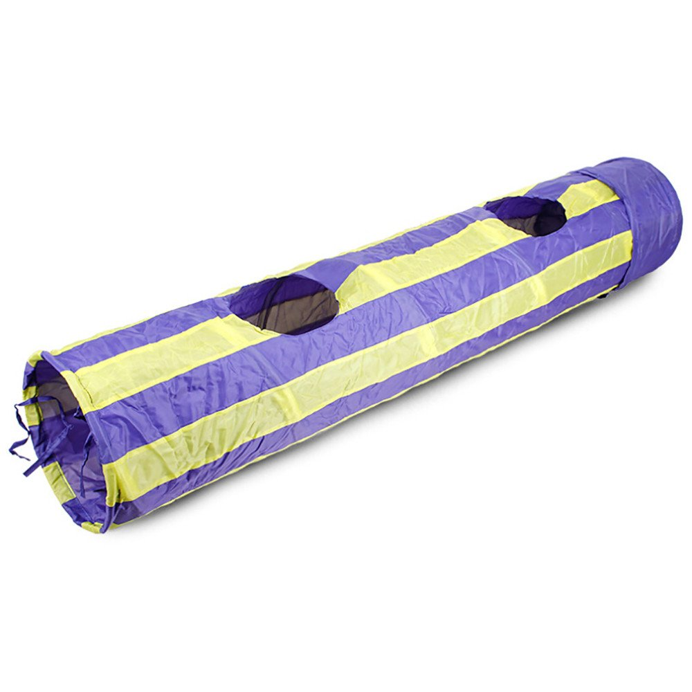 Smdoxi Cat Toys Collapsible Tunnel for Rabbits, Kittens, Ferrets and Dogs Crinkle Tunnel Hideout, Stripe Hollow Out Tunnel and Playmat Cat Toys (Purple)