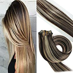 Labetti Highlight Blonde Clip in Human Hair Extensions 70g 7pcs 16 Clips Silky Straight Remy Human Hair Extension Gift for Girl Lady Women (18 inch, 2/613 Dark Brown to Bleach Blonde)