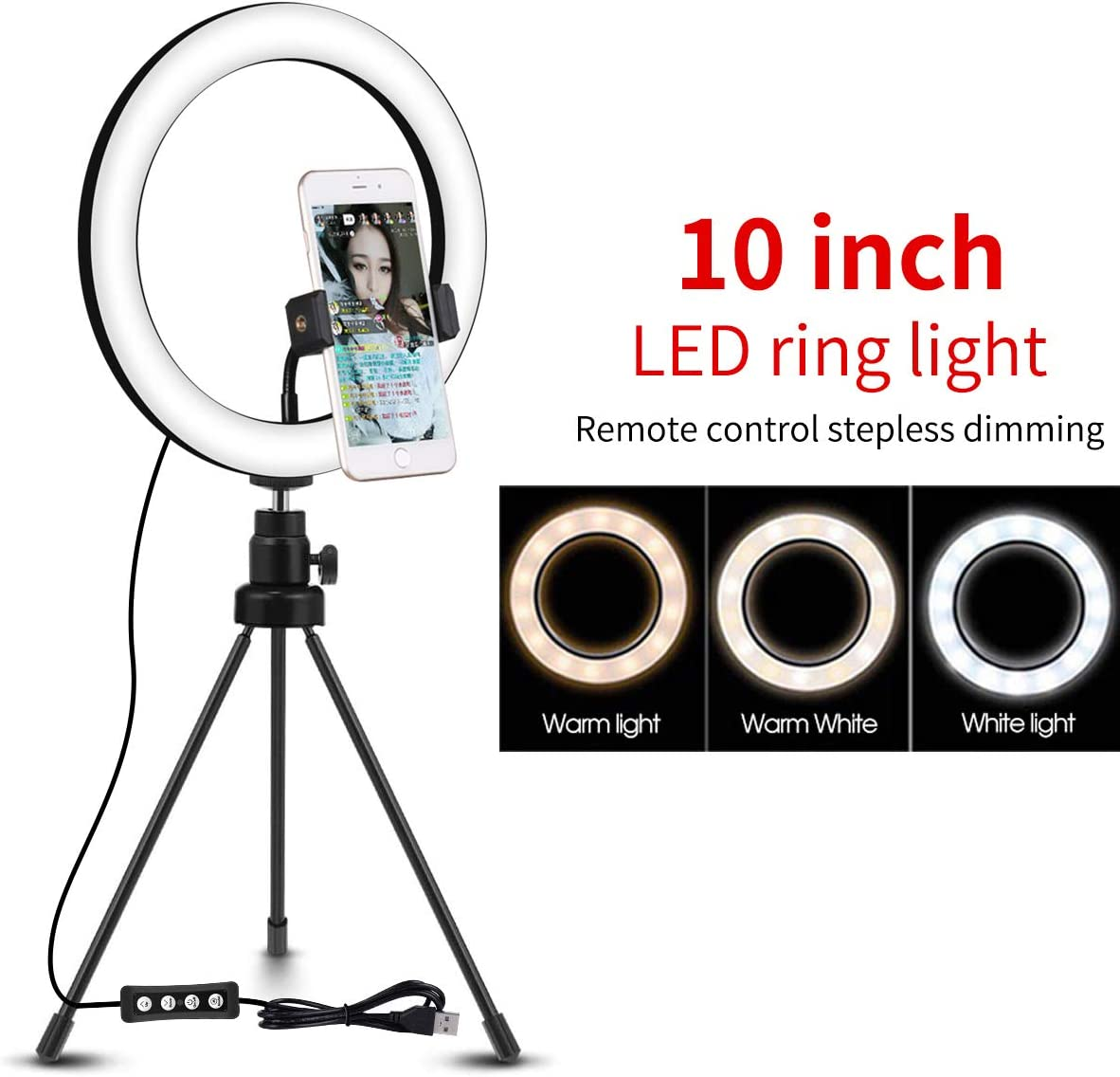 Dimmable Desk Ringlight Kit for Photography with 3 Light Modes/&10 Brightness Level,Ship from USA Makeup,Live Streaming /& YouTube Video 10 LED Ring Light with Tripod Stand /& Phone Holder for Selfie
