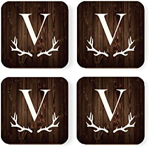 Andaz Press Square Coffee Drink Monogram Coasters Gift Set, Initial Letter V, Rustic Wood Deer Antler, 4-Pack, Wedding Bridesmaid Maid of Honor Gifts, Housewarming Christmas Gift Ideas
