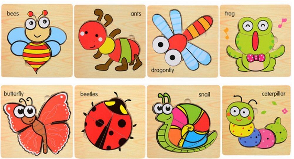 6 Stück Holzpuzzles Lernspielzeug Intelligenz Pädagigisches Spielzeug für Kinder ab 2 3 4 5Jahre (Zufälliges Muster) Stillsine