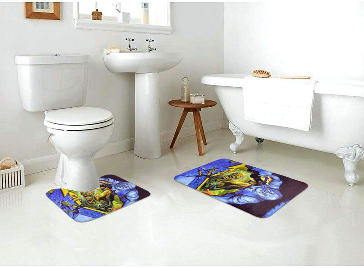 Shower 23.6 X 15.7 U-Shaped Toilet Pedestal Rug- Iron Maiden The Number of The Beast-rtwork2 Print Flannel Bath Mat Washable Non Slip Yy10 Bathroom Rug Set 2 Piece for Tub