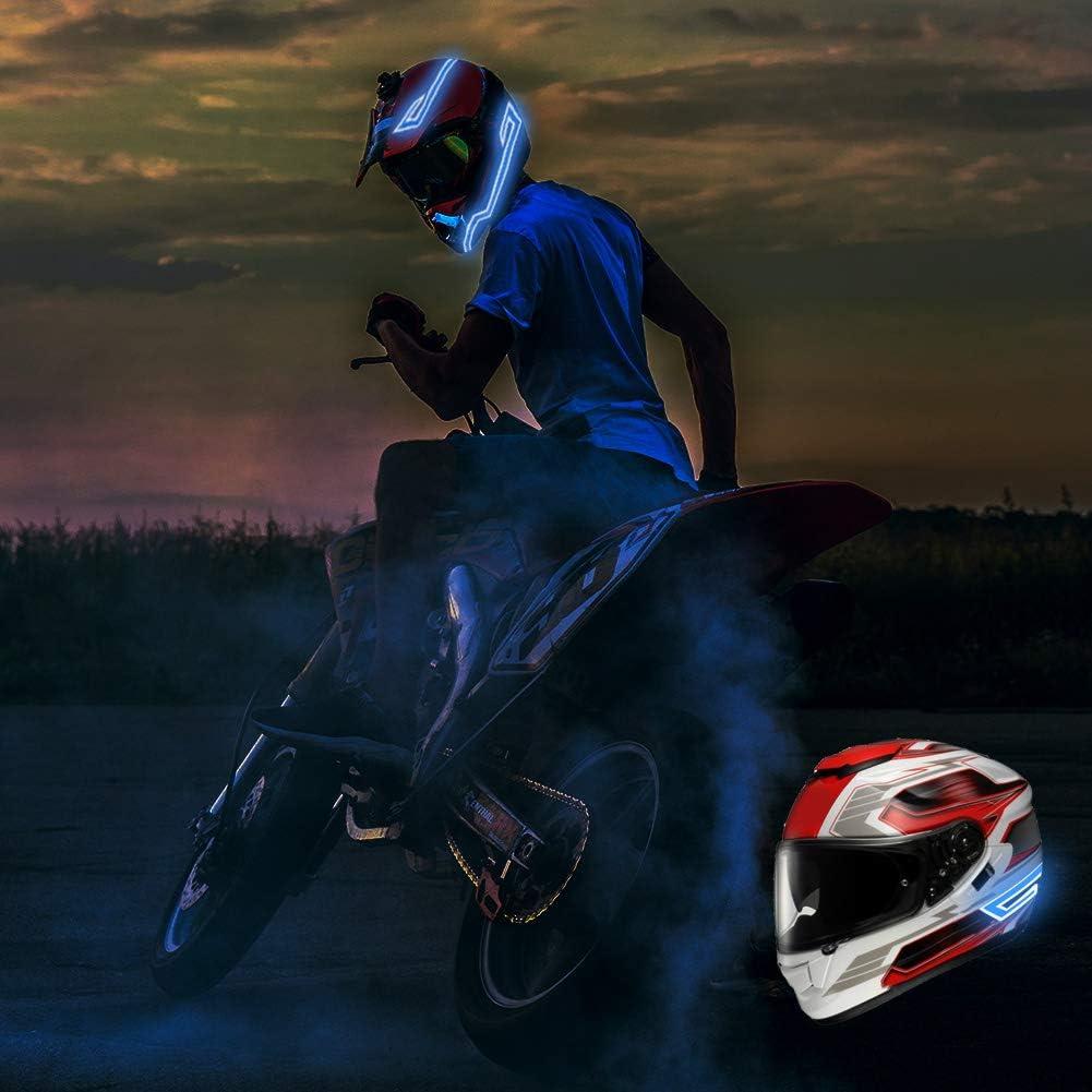 Mode Cool Casque de Moto Bande Lumineuse Kit Wilxaw Bande de Lumi/ère LED Casque Signal de Conduite de Nuit de LED Clignotant la Bande de lumi/ères DIY pour Cyclisme de Moto