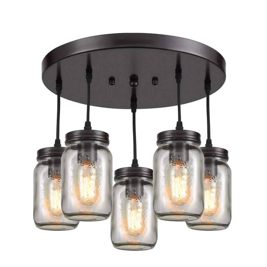 EUL Rustic Mason Jar Semi Flush Mount Ceiling Light 5-Light Pendant Lighting Fixture Oil Rubbed Bronze