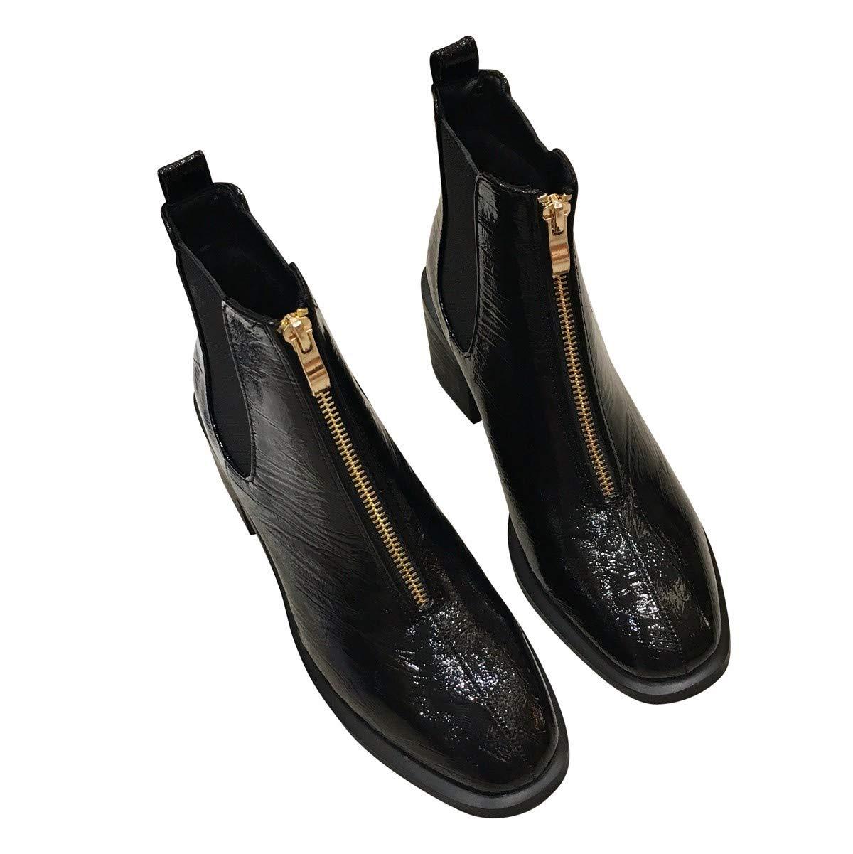 LBTSQ Fashion Damenschuhe Winter Stiefel Heel 4Cm 100 Sätze Helle Lack - Reißverschluss Dicke Sohle Samt Martin Stiefel