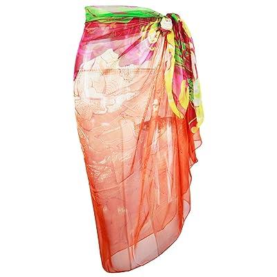 Block Garden Womens Chiffon Beachwear Swimsuit Cover up Beach Sarong Wrap Dress (S02 Orange) at Amazon Women's Clothing store
