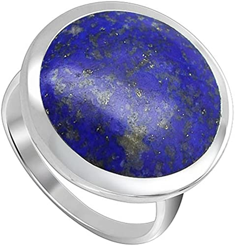 925 Sterling Silver Blue Lapis Lazuli Gemstone Oval Solitaire Ring Size 4.5-9.5