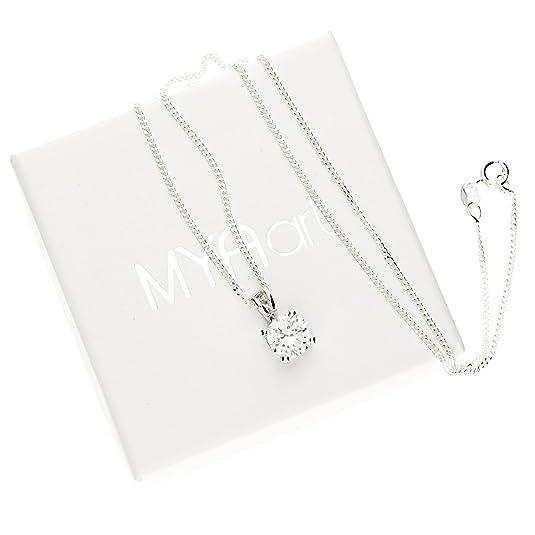 MYA art Damen Kette Halskette 925 Silber Rhodiniert mit rundem weißem  Zirkonia Solitär Stein Strass Anhänger Weiß MYASIKET-12  Amazon.de  Schmuck 91d7b4f227