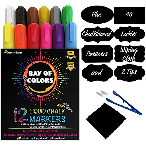 RAY OF COLORS Liquid Chalk Markers Ultimate Gift Box | 12...