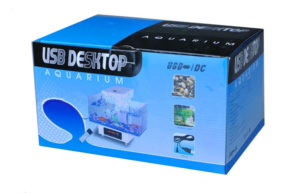 Cutepet Pecera Mini Pecera Con USB Acuario Ornamentales De Biotipo 25.3 X 16.3X20.8 Cm FA-30198,White: Amazon.es: Deportes y aire libre