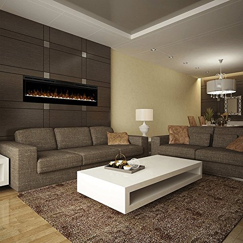 """Dimplex Prism Series 74"""" Wall-Mounted Electric Fireplace with Acrylic Ember Bed"""