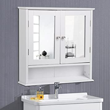 Amazoncom Yaheetech Medicine Cabinets Wooden Bathroom Wall Cabinet