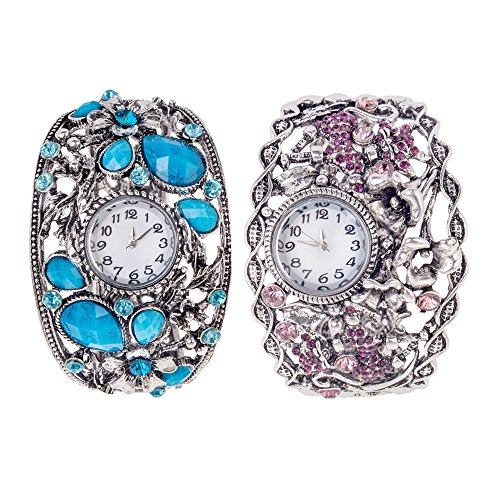 Set of 2 Metal Ladies Art Nouveau Style Wrist Quartz Watches Bracelets With Twisted Ornaments And Purple Rhinestones In Anti Silver And Flower Ornaments With Big Turquoise Crystals In Silver By VAGA