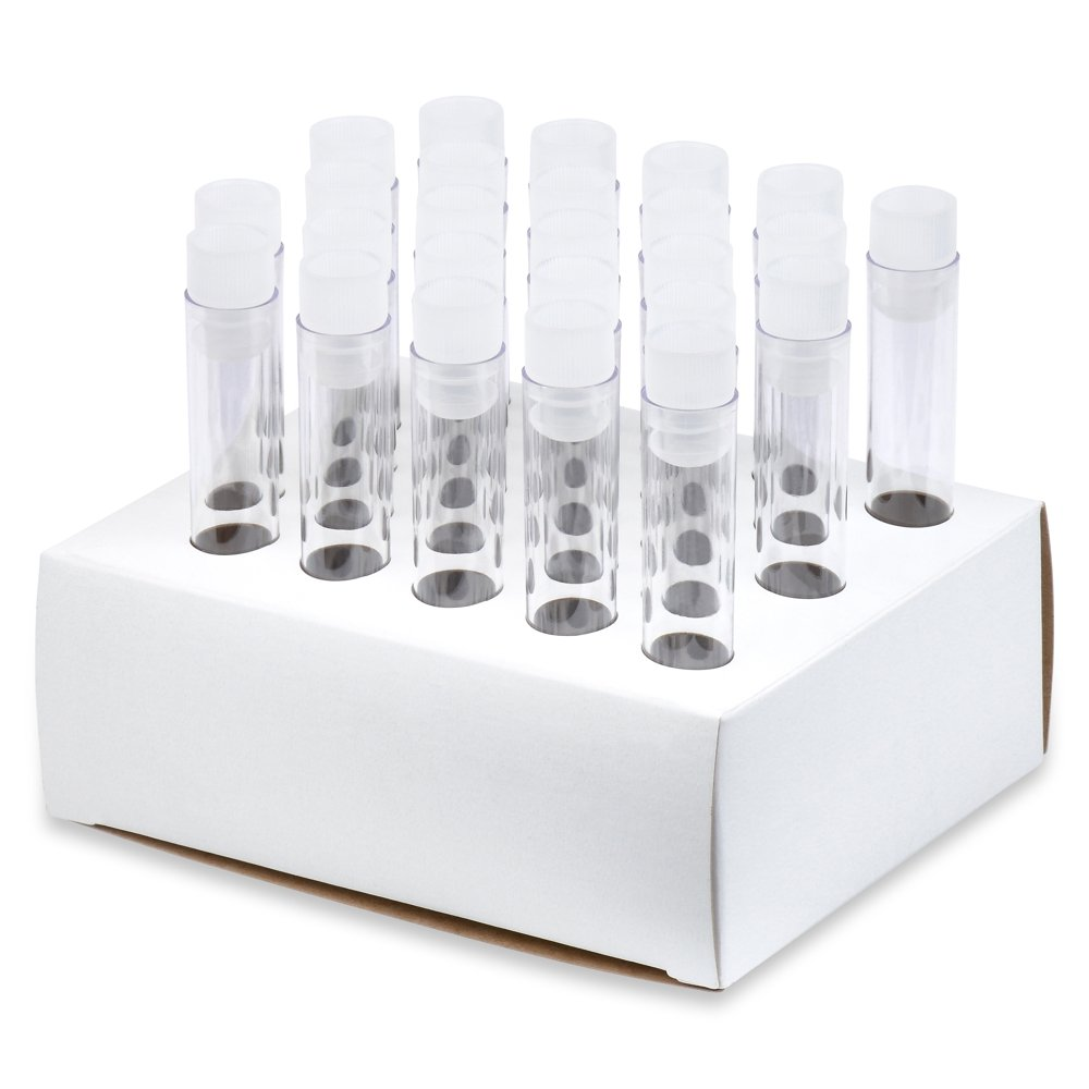 12x75mm PS Plastic Test Tubes, Flange Caps, Cardboard Rack, Karter Scientific 206N8 (Pack of 50)