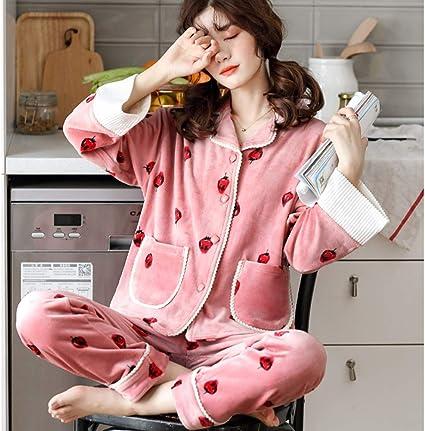 ASDFGG-hm Pijama de Mujer Botón de Manga Larga Ropa de Dormir ...
