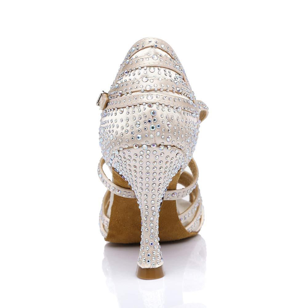 SWDZM Donna Scarpe da Ballo,Scarpe a Sandalo da Ballo Donna,Standard Latino,Strass Raso Ballroom Model-AF-435