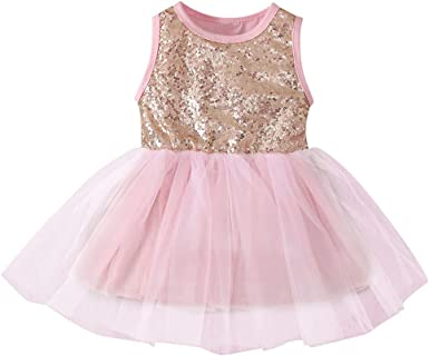 Pretty Cute Toddler Baby Girls Ruffles Sleeve Dress Summer Sequins Gauze Clothes