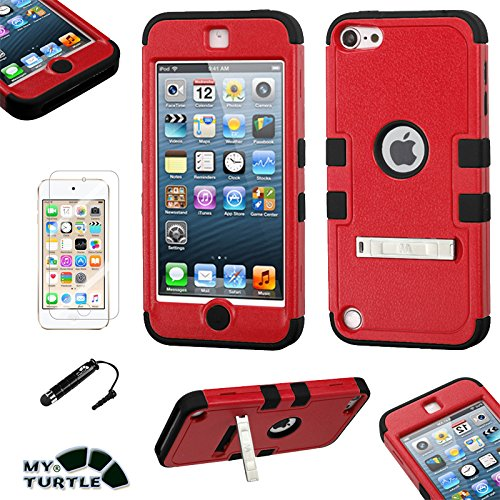 Hybrid Case Hard Silicone Shell High Impact Cover with Stylus Pen and Screen Protector for iPod Touch 5th 6th Generation, Kickstand Red Black ()