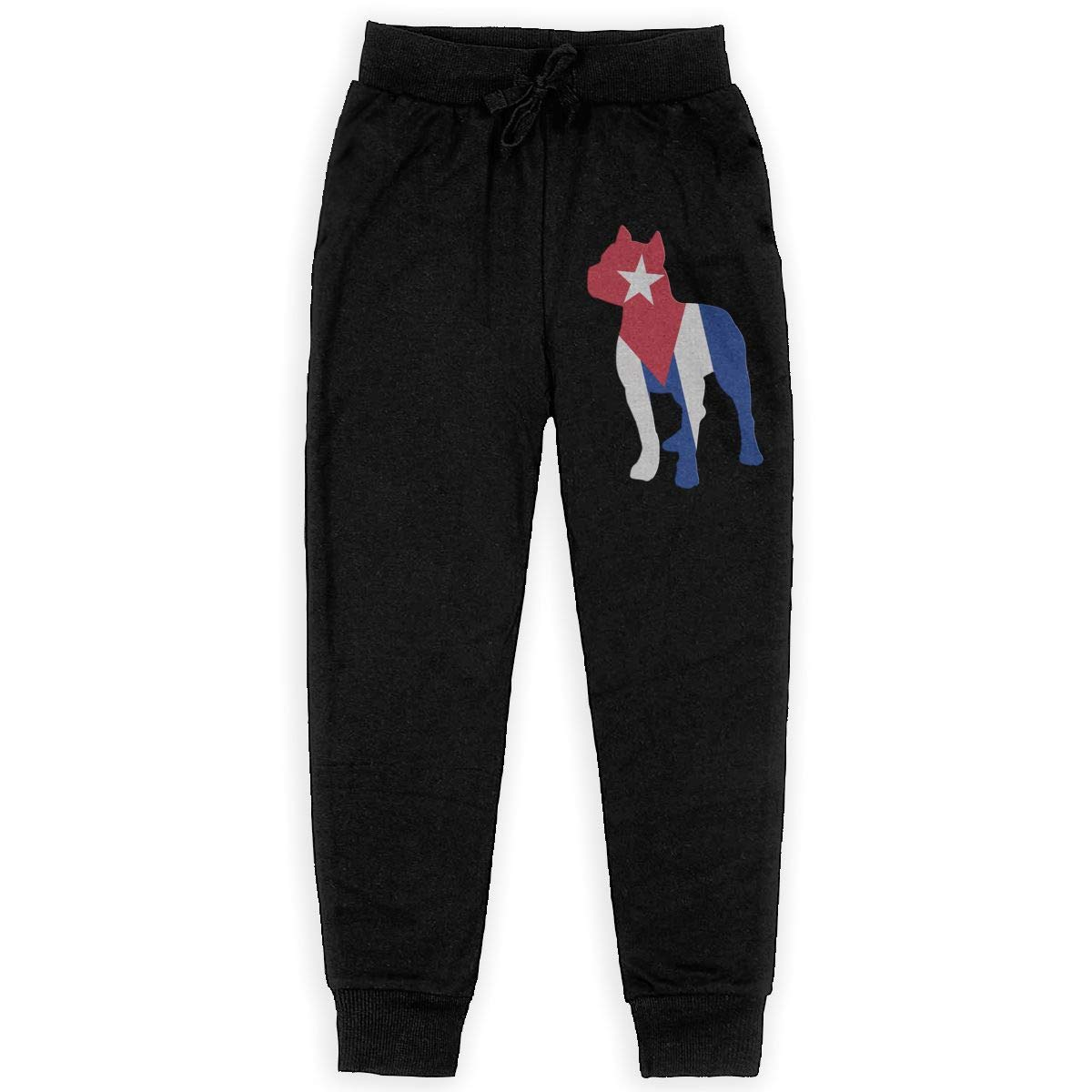 Teenager Jogger Pants for Teen Boy WYZVK22 Patriotic Pitbull Cuba Flag Soft//Cozy Sweatpants