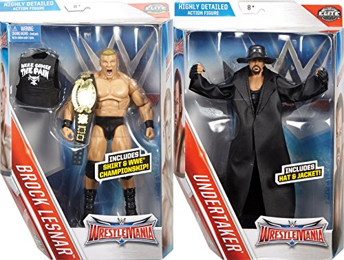 "WWE ELITE ""WRESTLEMANIA 32"" SET OF 2 (BROCK LESNAR & UNDERTAKER) - WWE WRESTLEMANIA 32 ELITE FLASHBACK MATTEL TOY WRESTLING ACTION FIGURES"