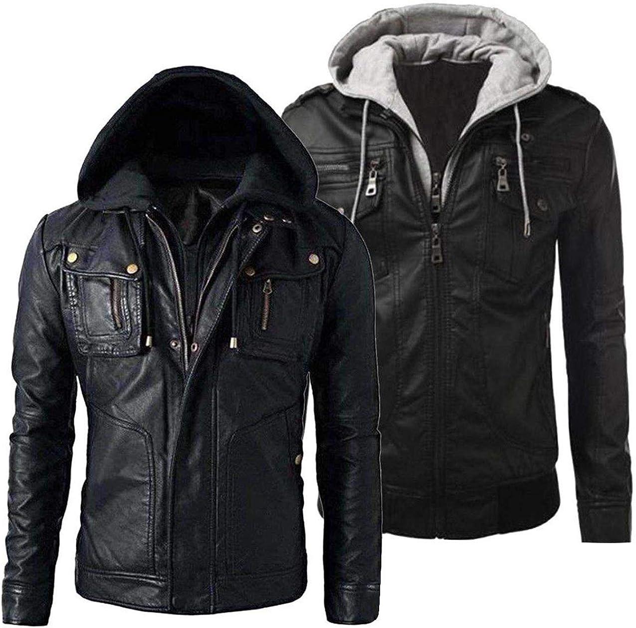 Mens New Slim Fit Vintage Biker Jacket Black Retro Real Leather Jacket