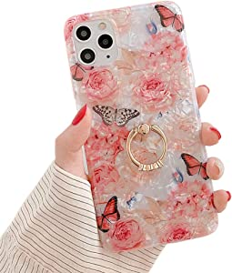 Qokey Compatible with iPhone 11 Pro Max Case,Flower Case Cute Clear for Women Girls with 360 Degree Rotating Ring Kickstand Soft TPU Shockproof Cover Designed for iPhone 11 Pro Max 6.5